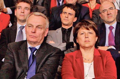 Meeting du PS à Lyon, le 3 mars 2012. Jean-Marc Ayrault et Martine Aubry (au premier rang) et Manuel Valls (au milieu, au second plan), sont cités comme possibles premier ministre.