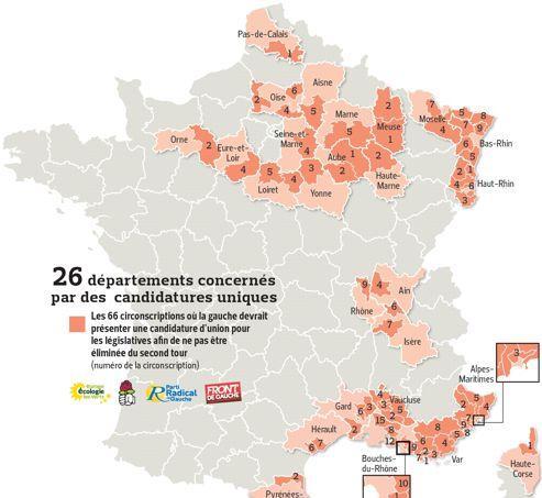 La gauche contrainte à l'union dans 66 circonscriptions