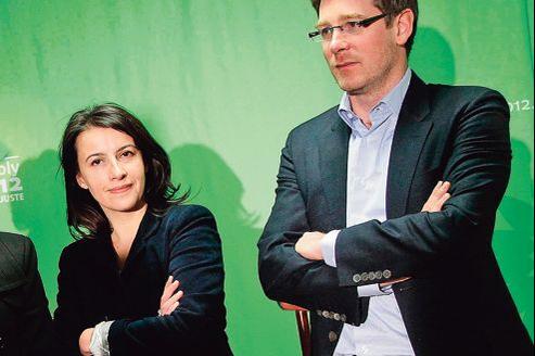 Cécile Duflot, ministre de l'Égalité des territoires et du Logement, et Pascal Canfin, ministre délégué au Développement , en janvier pendant la campagne présidentielle.