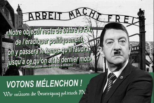 Ce tract, «le plus répugnant», selon Jean-Luc Mélenchon, le présente en Adolf Hitler. Il a été diffusé sur les réseaux sociaux. DR.