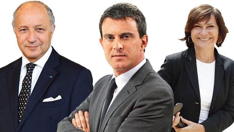 De gauche à droite: Laurent Fabius, Manuel Valls et Marie-Arlette Carlotti.