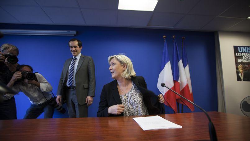 Marine Le Pen, lors d'une conférencede presse, mardi au siège du FN, à Nanterre.
