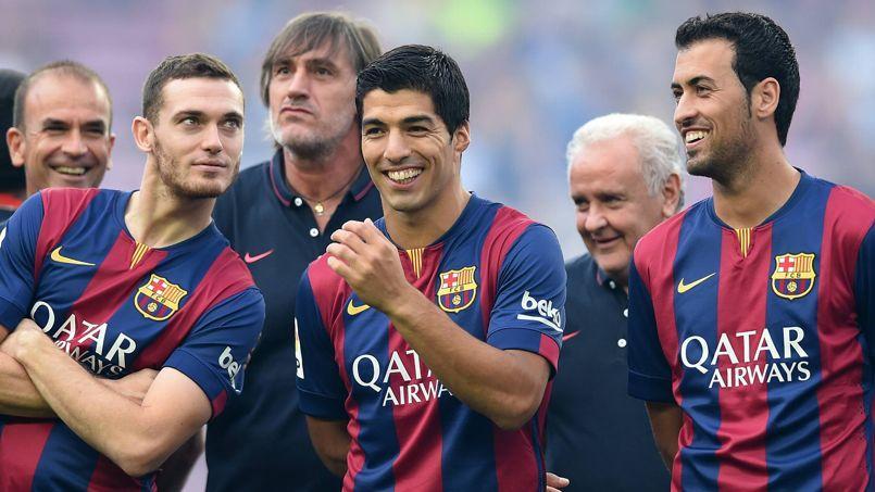 Luis Suarez lors de sa présentation officielle au Camp Nou, lundi