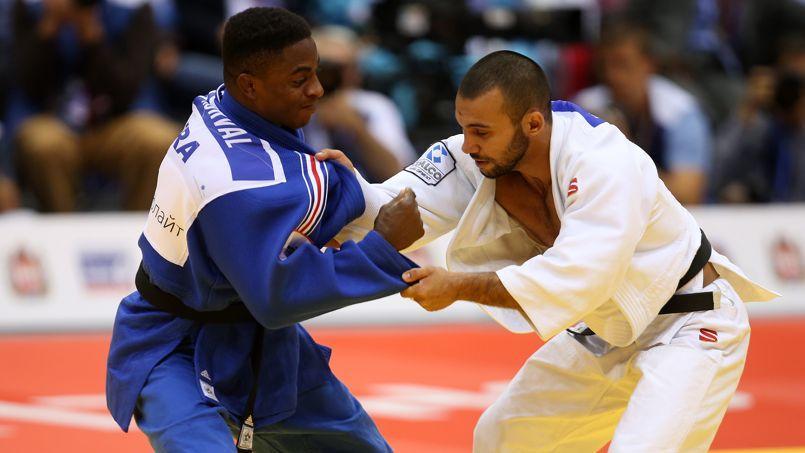 Loïc Korval (FRA) et Kamal Khan-Magomedov (RUS) aux championnats du monde de judo, le 26 août 2014.