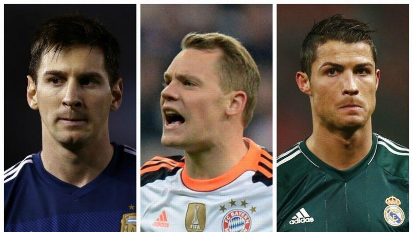 De gauche à droite: Lionel Messi, Manuel Neuer et Cristiano Ronaldo