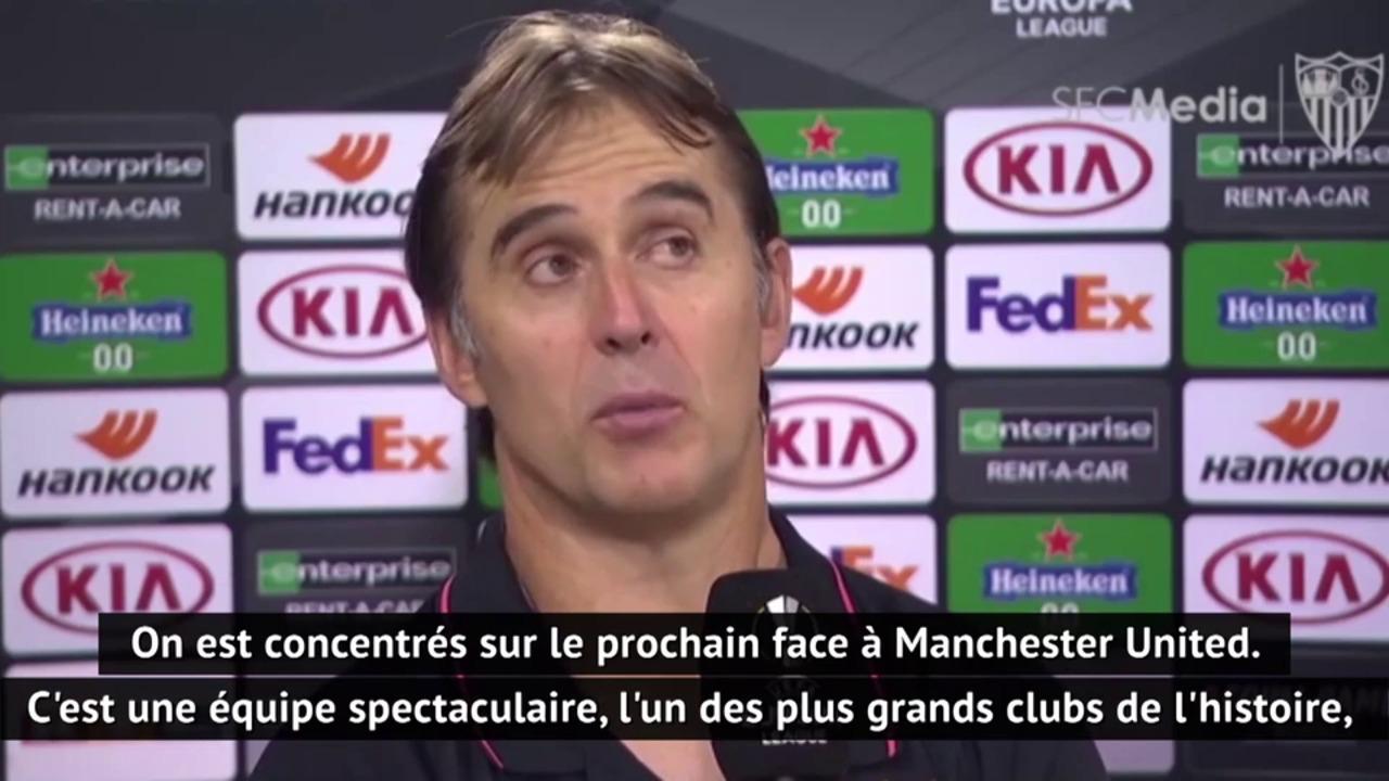 Julen Lopetegui, entraîneur de Séville, évoque tout ce que représente Manchester United avant la demi-finale de Ligue Europa qui s'annonce disputée dimanche soir.