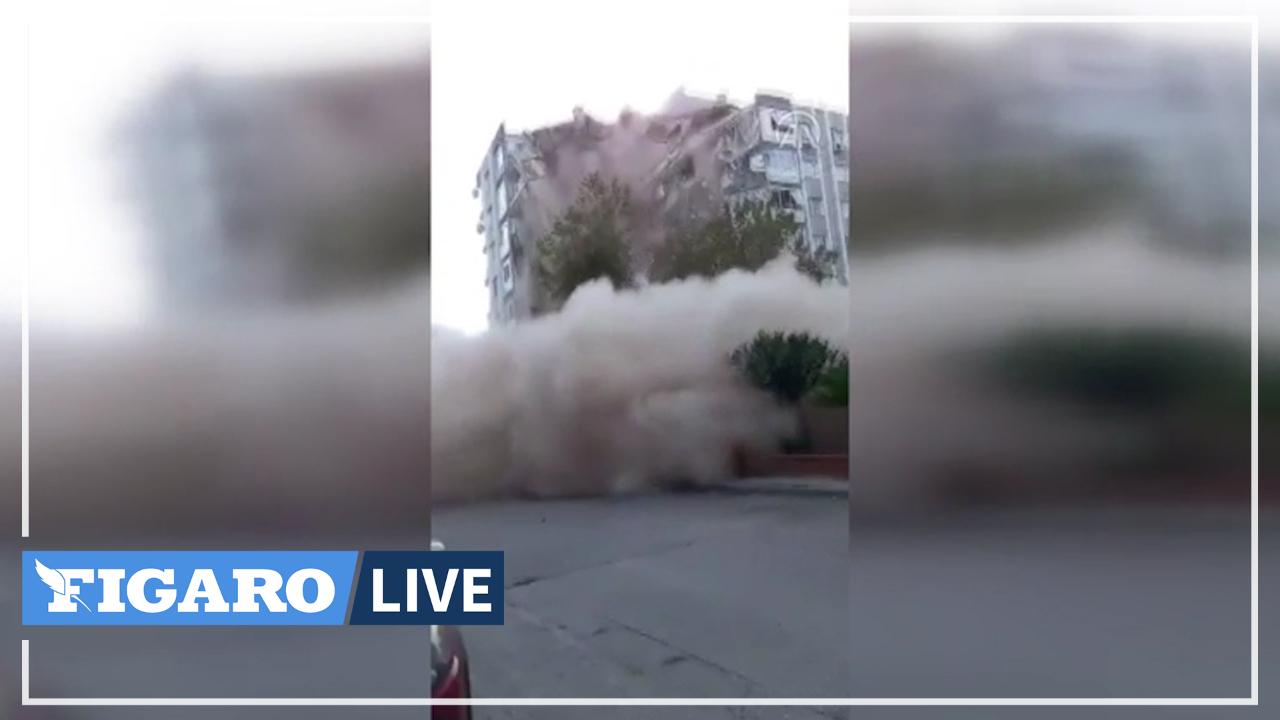Les images de l'effondrement d'un immeuble en Turquie après le séisme en mer Égée