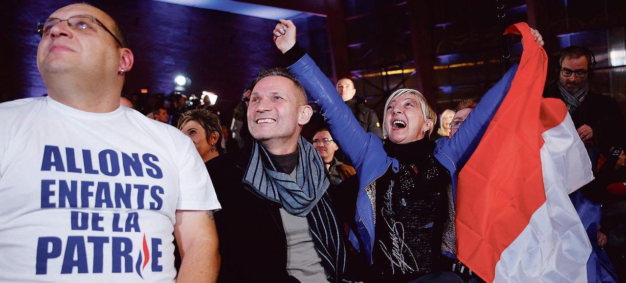 Marine Le Pen, après l'annonce des résultats du premier tour.