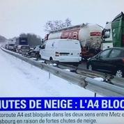 Chute de neige : l'autoroute A4 bloquée par la neige rouvre difficilement