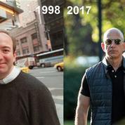 Deux photos de Jeff Bezos qui illustrent l'ascension d'Amazon