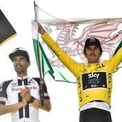 Après son discours, le vainqueur du Tour de France se fend d'un «mic drop»