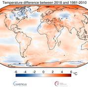 2018 se classe à la quatrième place des années les plus chaudes de l'histoire