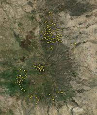 Les villages attaqués autour du Djebel Marra.
