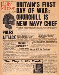 Une du «Daily Mirror» lors de la nomination de Churchill comme ministre de la Marine (1939).
