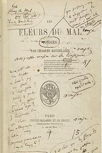 Page de garde des Fleurs du mal, annotée par Baudelaire.