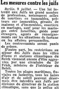 Le Figaro du 10 juillet 1938
