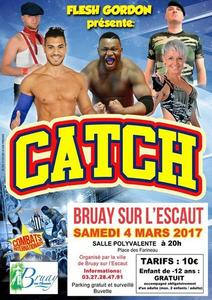 Affiche gu gala de catch du 4 mars à Bruay-sur-l'Escaut