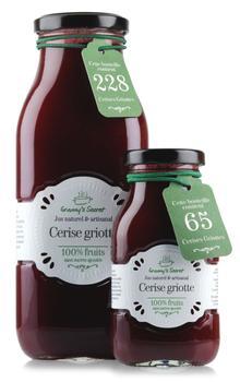 Granny's Secret produit un jus contenant 52% de griottes, pasteurisé à 70°C.
