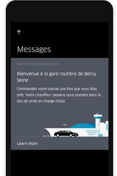Capture d'écran de la fonctionnalité créée par Uber pour les voyageurs FlixBus.