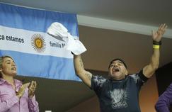 Diego Maradona, euphorique après la victoire de Juan Marin del Potro face à Marin Cilic dimanche.