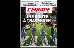 L'Equipe s'est inspiré du mythique groupe de Liverpool, les Beatles, pour réaliser sa Une sur le déplacement en Angleterre du Paris Saint-Germain. Et rebondit sur l'actualité concernant Emmanuel Macron.