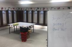 Le vestiaire du Japon après la finale perdue face au Qatar.