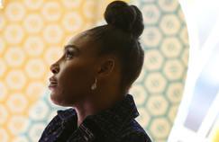 Serena Williams lors d'une interview en vue du Superbowl