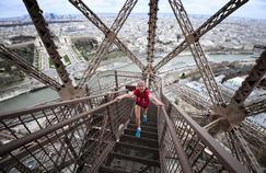 Laure Chardin lors de l'entraînement pour la Verticale de la Tour Eiffel
