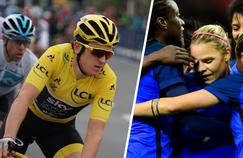 Geraint Thomas sur la couverture de l'album Tour de France et les Bleues, actrices centrales du Mondial 2019 de football.