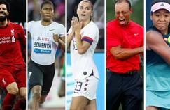 De gauche à droite, Mohamed Salah, Caster Semenya, Alex Morgan, Tiger Woods et Naomi Osaka