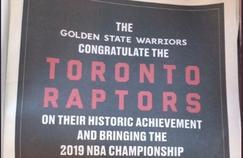 Golden State félicite les champions de NBA
