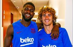 Umtiti et Griezmann au centre d'entraînement de Barcelone