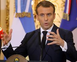 Emmanuel Macron lors d'une conférence de presse avec le président argentin. LUDOVIC MARIN/AFP