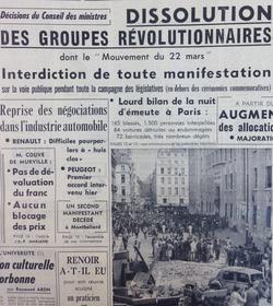 La Une du «Figaro» du 13 juin 1968 au lendemain de l'interdiction du «Mouvement du 22 mars».