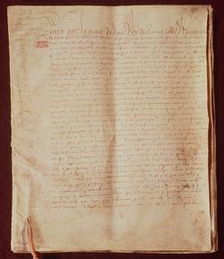 Première page de l'Édit de Nantes signé en 1598 par le roi de France Henri IV.