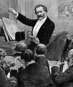 Verdi conduisant l'orchestre pour Aida vers 1880.