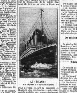 Extrait du <i>Figaro</i> du 16 avril 1912.