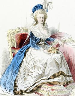 Marie-Antoinette, épouse de Louis XVI. Gravure d'Hippolyte Pauquet, extraite de «Modes et costumes historiques».