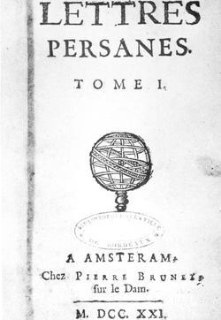 Page de garde des «Lettres Persanes» de Montesquieu paru en 1721.