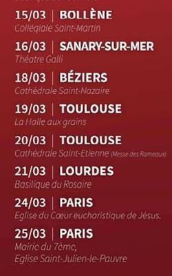 Les prochaines dates des concerts en France