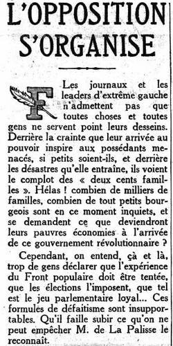 L'éditorial en Une du Figaro du 9 mai 1936.