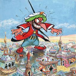 <i>Iznogoud menaçant la ville de Bagdad</i>. Dessin pour la couverture de Pilote n°446 du 9 mai 1968