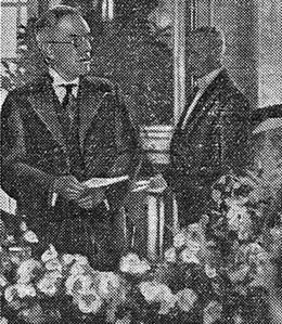 Illustration parue dans <i> Le Figaro</i> de John D. Rockefeller junior lors de son discours à Versailles en 1936.