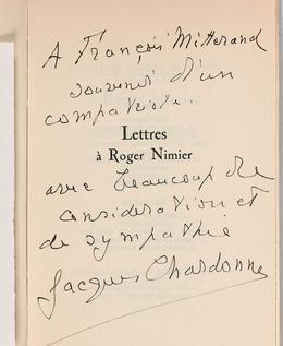 Dédicace de Jacques Chardonne à François Mitterrand.