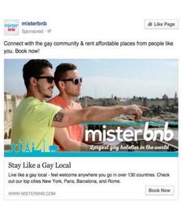 La publicité apparue sur le fil Facebook du chercheur madrilène.