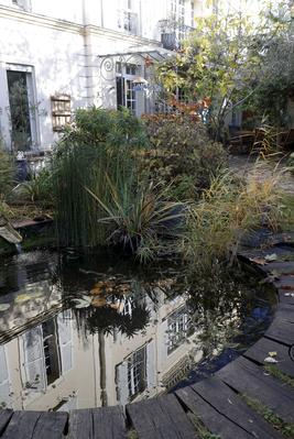The small basin has been surrounded by contacts that have been worn with moss and water lilies.