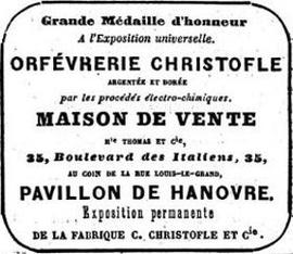 Publicité parue dans «Le Figaro» du 27 décembre 1860.