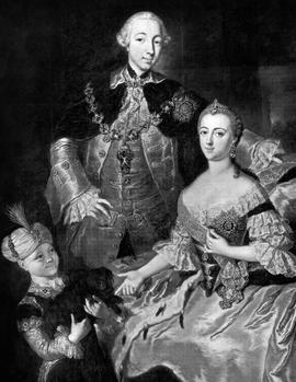 Catherine II avec le Grand Duc Pierre III et leur fils Paul. Tableau peint par R.M. Lisiewska en 1756.