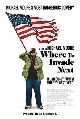 Michael Moore sur l'affiche de son film <i>Where to Invade Next.</i>
