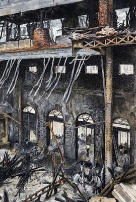 L'incendie de l'Opéra Comique en mai 1887.